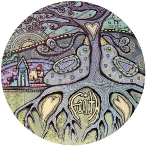 Purple Tree Faith Birds Coaster